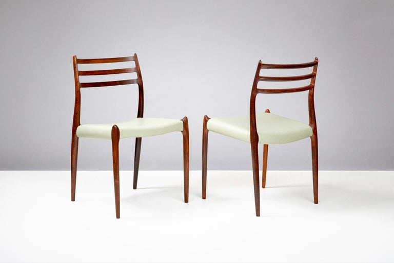 Niels O. Møller  Model 78 dining chairs, 1962  Set of 8 restored, first production iconic model 78 dining chairs.