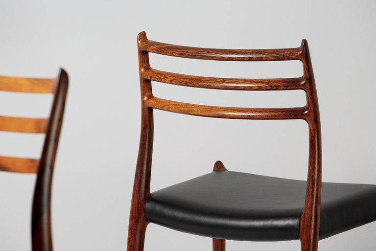 Mid-20th Century Niels O. Møller Model 78 Rosewood Dining Chairs, 1962 For Sale