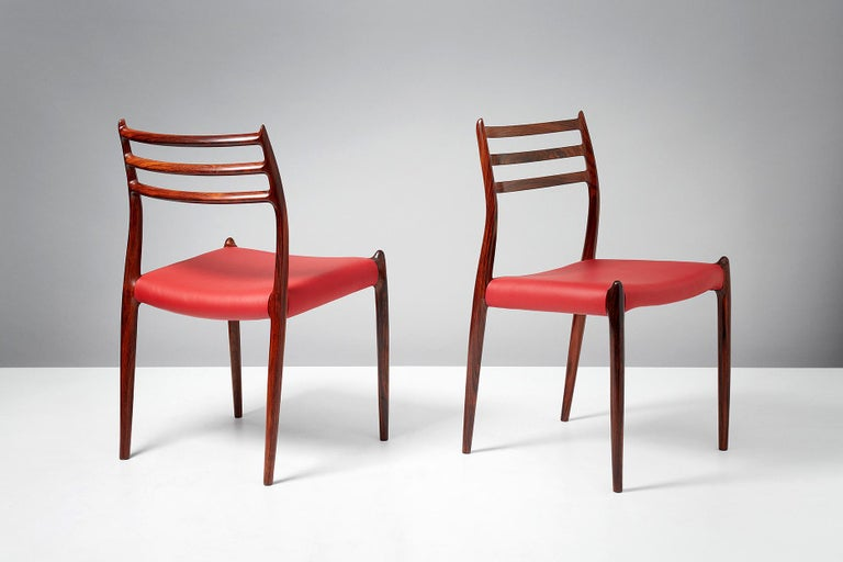 Leather Niels O. Møller Model 78 Rosewood Dining Chairs, 1962 For Sale