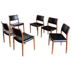 Niels O. Møller Rosewood Dining Chairs for J.L. Møllers Møbelfabrik, circa 1976