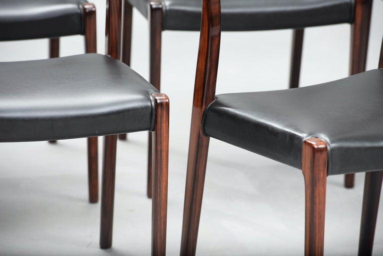 Niels O. Møller Rosewood Dining Chairs, Model 71 by J.L Møllers, Set of Six For Sale 2