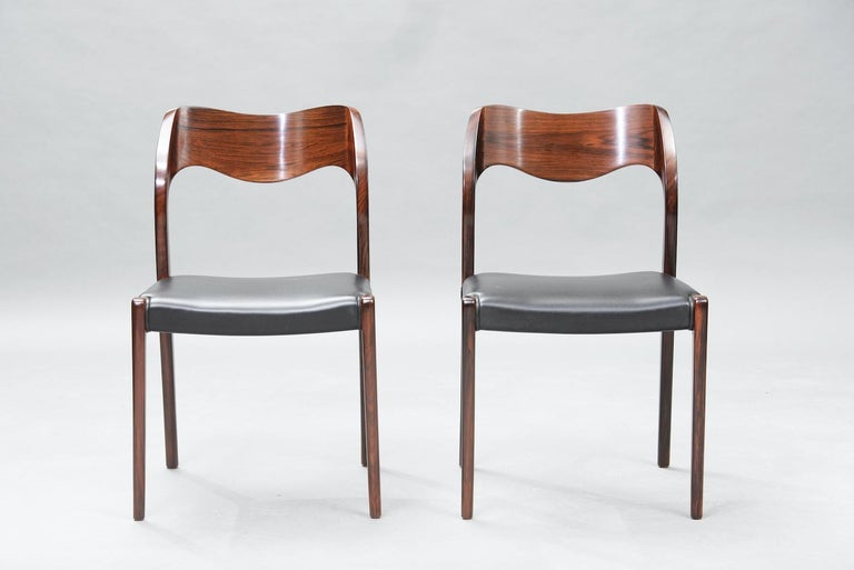 Scandinavian Modern Niels O. Møller Rosewood Dining Chairs, Model 71 by J.L Møllers, Set of Six For Sale
