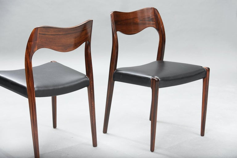 Danish Niels O. Møller Rosewood Dining Chairs, Model 71 by J.L Møllers, Set of Six For Sale