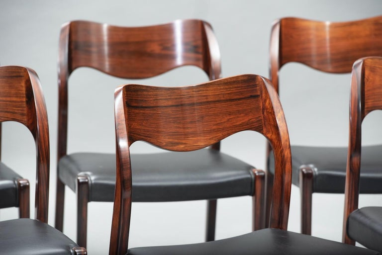 Niels O. Møller Rosewood Dining Chairs, Model 71 by J.L Møllers, Set of Six In Excellent Condition For Sale In Porto, PT