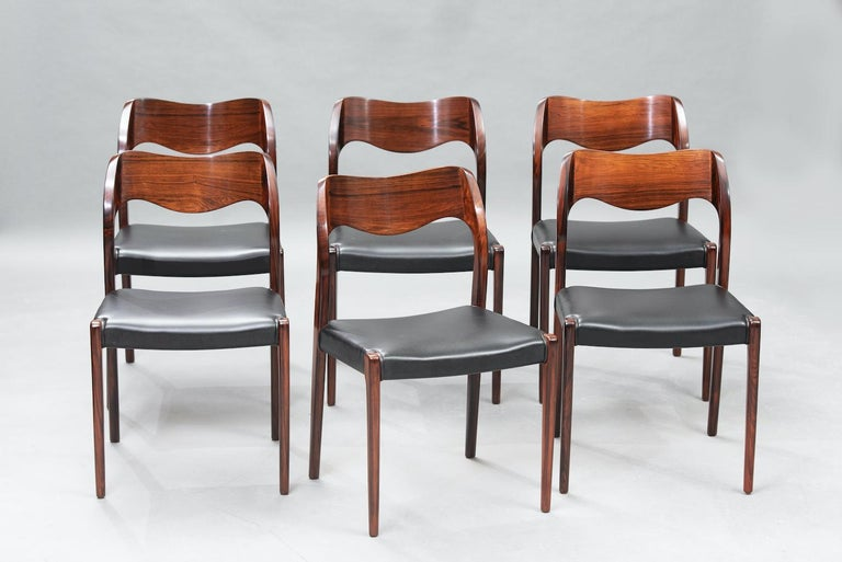Mid-20th Century Niels O. Møller Rosewood Dining Chairs, Model 71 by J.L Møllers, Set of Six For Sale
