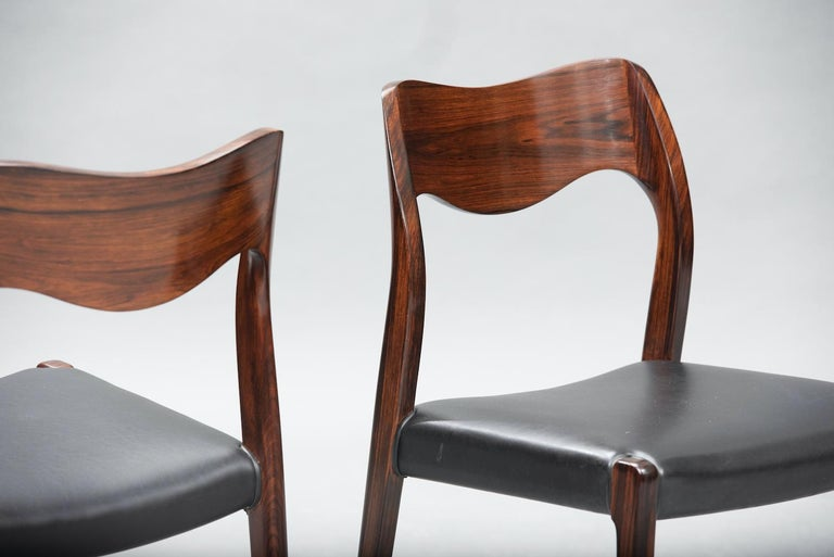 Faux Leather Niels O. Møller Rosewood Dining Chairs, Model 71 by J.L Møllers, Set of Six For Sale