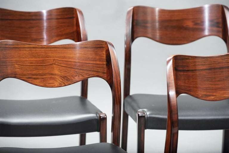 Niels O. Møller Rosewood Dining Chairs, Model 71 by J.L Møllers, Set of Six For Sale 1