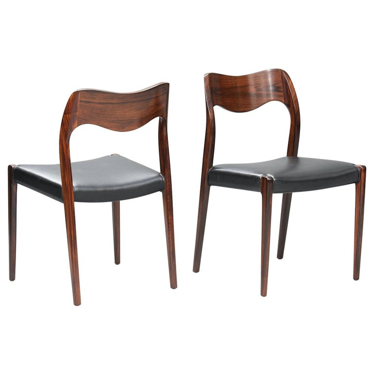 Niels O. Møller Rosewood Dining Chairs, Model 71 by J.L Møllers, Set of Six For Sale