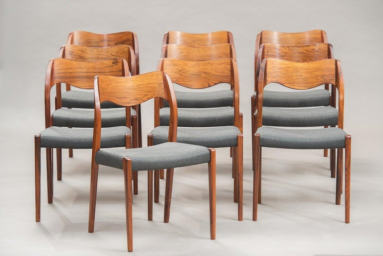 Danish Niels O. Møller Rosewood Dining Chairs, Model 71 by J.L Møllers, Set of Ten For Sale