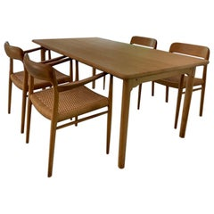 Niels O. Møller Set of 4 Oak Model 56 Chairs and Table