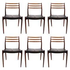Niels O. Møller Set of Six Dining Chairs in Rosewood and Black Leather