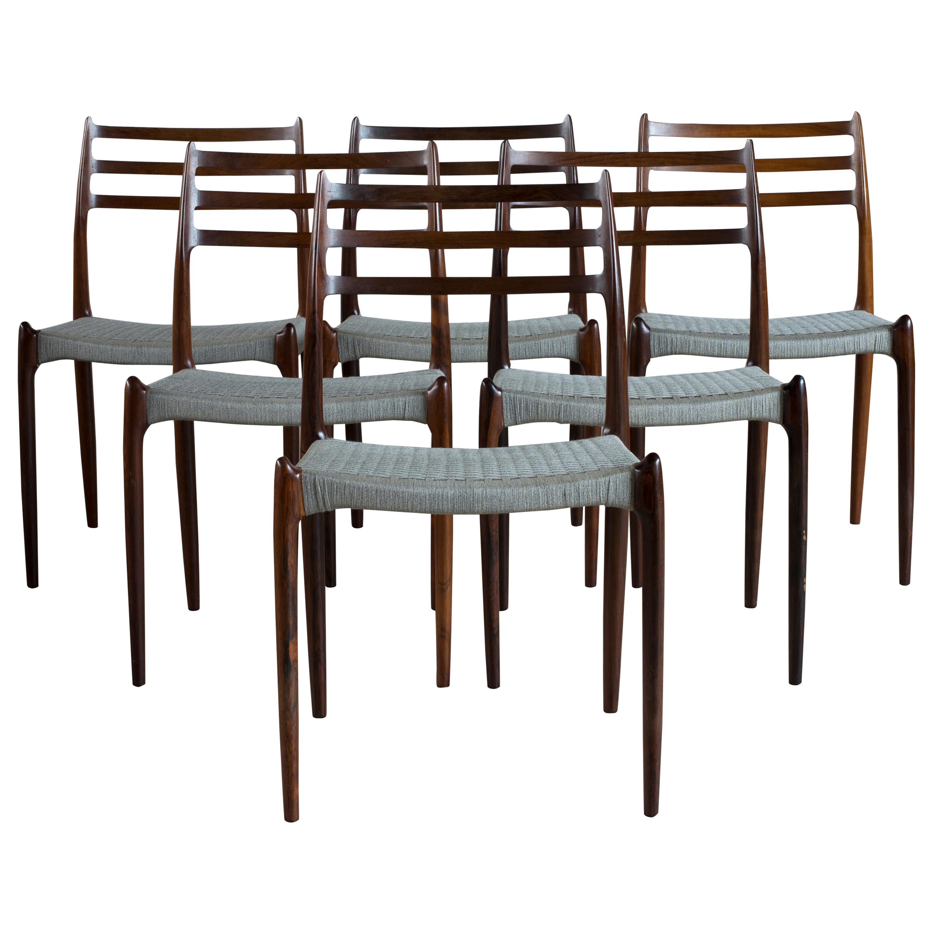 Niels O. Møller Set of Six Rosewood Chairs