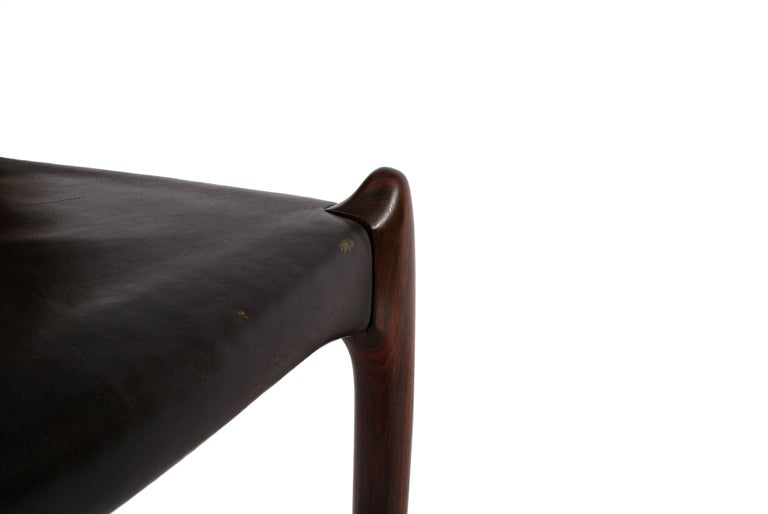 Niels O. Møller Set of Ten Dining Chairs in Rosewood and Black Leather 3