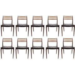 Niels O. Møller Set of Ten Dining Chairs in Rosewood and Black Leather