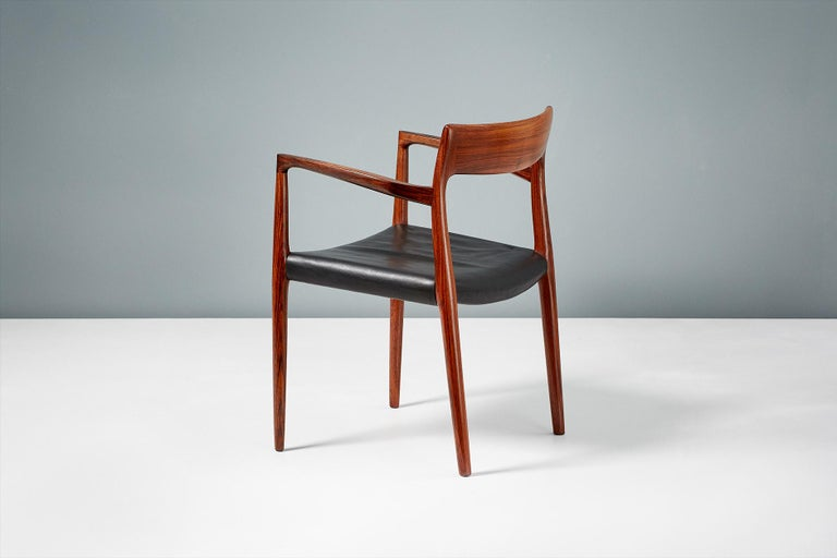 Fabric Niels O. Moller Model 57 Rosewood Carver Chair For Sale