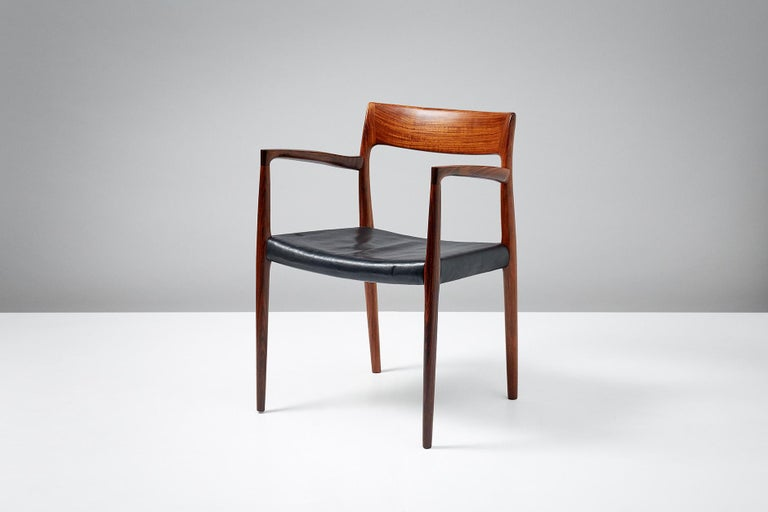 Scandinavian Modern Niels O. Moller Model 57 Rosewood Carver Chairs For Sale