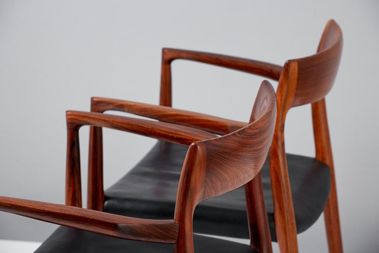 Mid-20th Century Niels O. Moller Model 57 Rosewood Carver Chairs For Sale