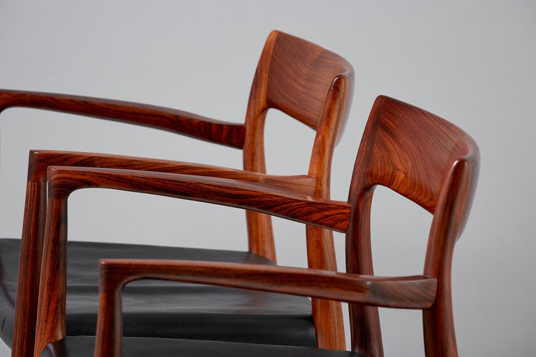 Niels O. Moller Model 57 Rosewood Carver Chairs For Sale 2