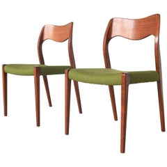 Niels O. Moller Model 71 Pair of Dining Chairs, Denmark, 1951