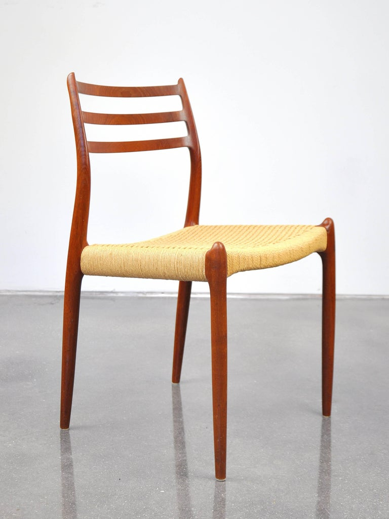 Niels O. Moller Model #78 Teak Dining Chairs In Good Condition For Sale In Miami, FL