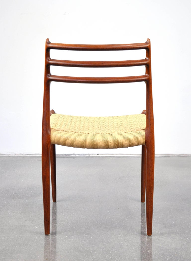 Papercord Niels O. Moller Model #78 Teak Dining Chairs For Sale