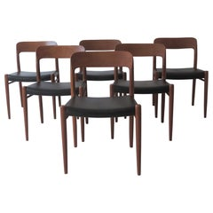 Niels O. Möller No 75 Danish Modern Teak and Leather Dining Chairs, Set of 6