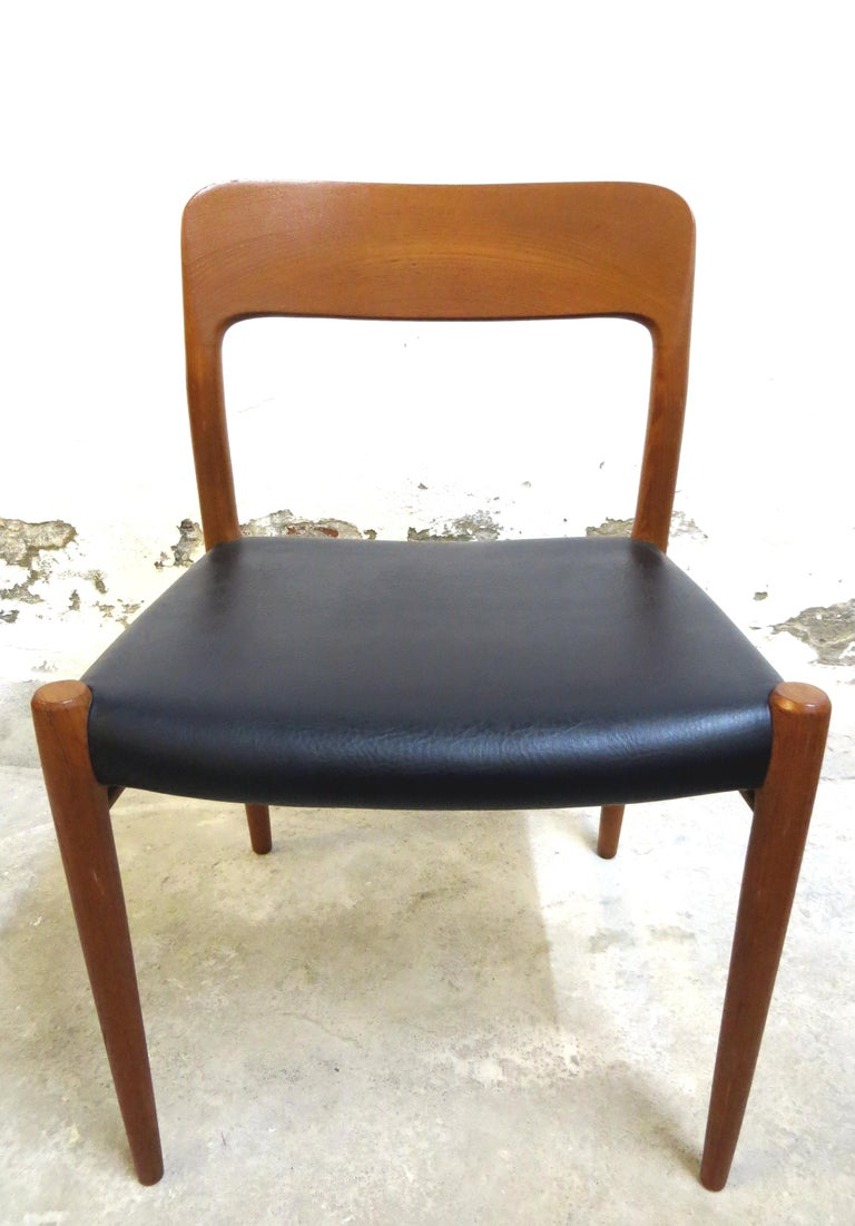 20th Century Niels O. Möller No. 75 Danish Modern Teak Dining Table with 6 Chairs, Set, 1960s For Sale