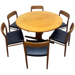 Niels O. Möller No. 75 Danish Modern Teak Dining Table with 6 Chairs, Set, 1960s