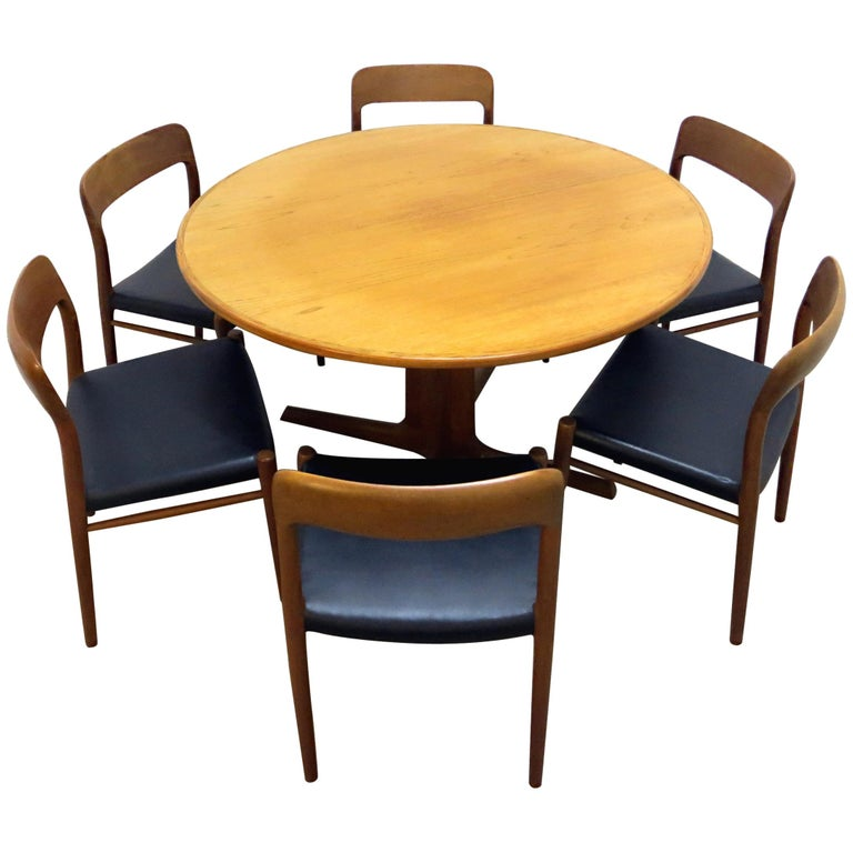 Niels O Moller No 75 Danish Modern Teak Dining Table With 6 Chairs