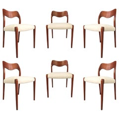 Niels O. Moller Six Solid Teak Chairs, Model 71 in White Velvet Midcentury