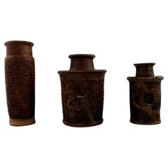 Niels Oluf 'Jeppe' Thorkelin-Eriksen '1926-1981' Danish Potter 3 Unique Vases