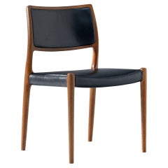 Niels Otto Møller Dining Chair Model '80' in Oak and Black Leather