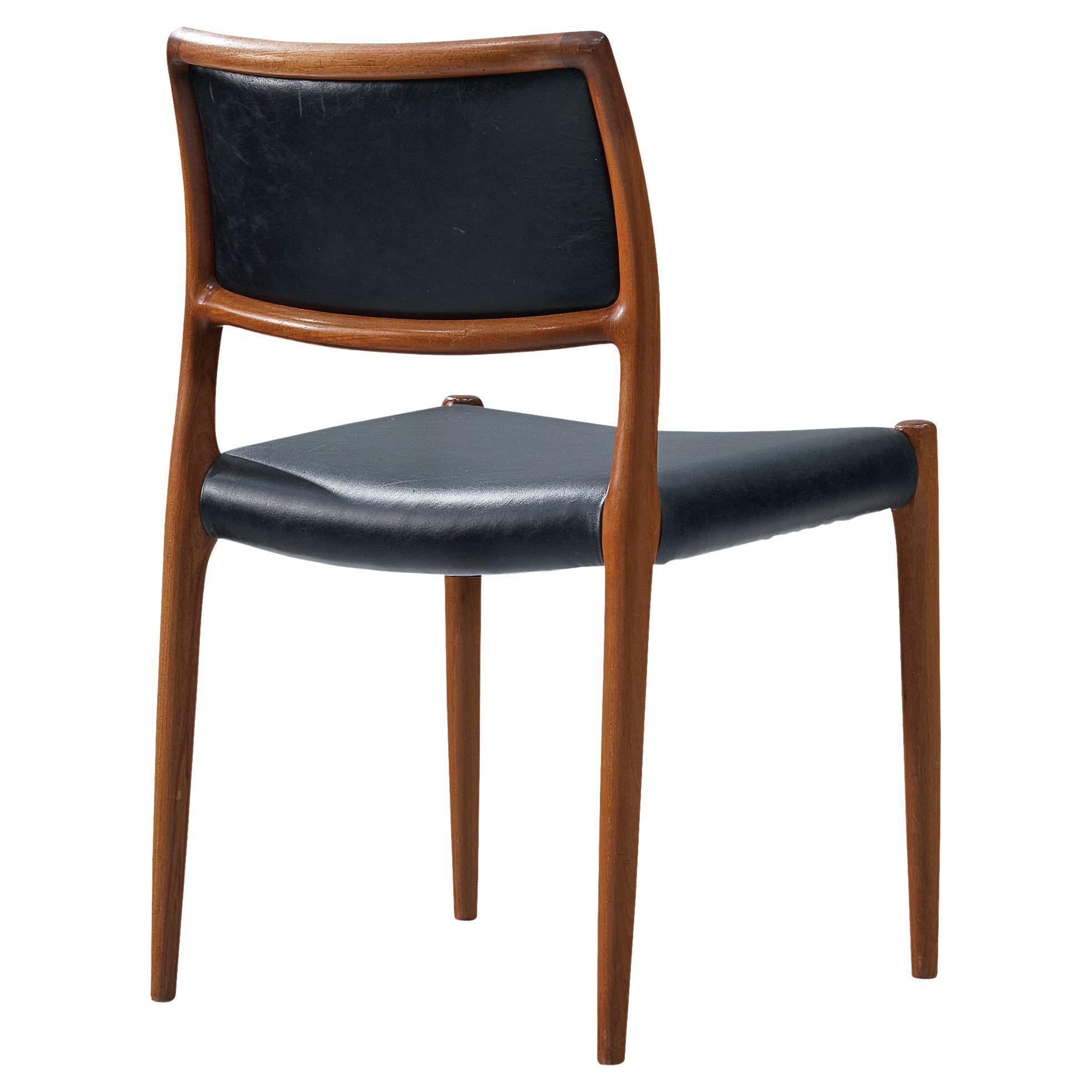 Niels Otto Møller Dining Chair Model '80' in Teak and Black Leather