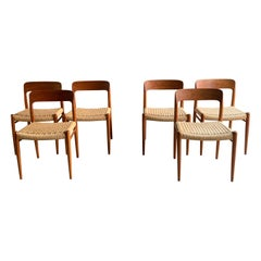Niels Otto Møller Dining Chairs Set of Six Model 75 JL Møller Møbelfabrik Danish