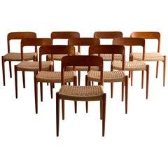 Niels Otto Møller Dining Chairs Set of Ten Model 75 JL Møller Møbelfabrik Danish