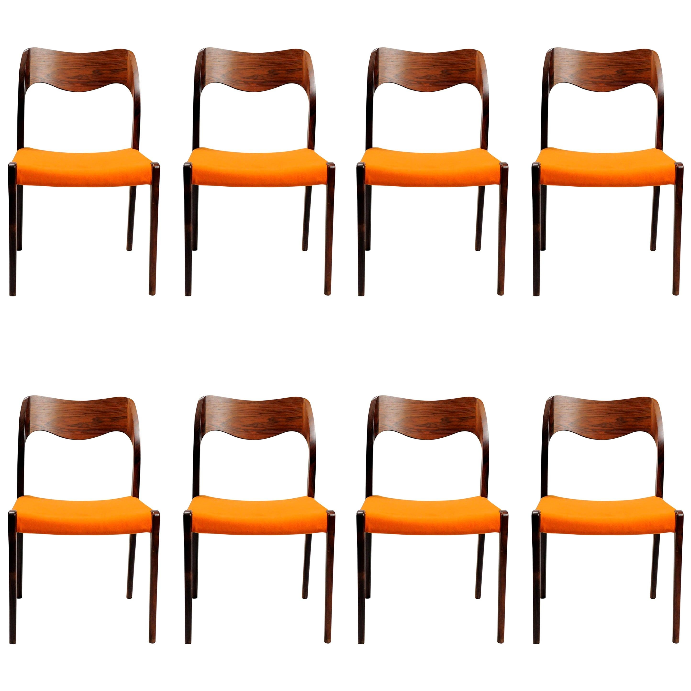 Niels Otto Møller Eight Refinished Rosewood Dining Chairs, Inc. Reupholstery