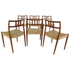 Niels Otto Møller for J.L. Møllers Set of 6 Model-79 Papercord Chairs, Denmark