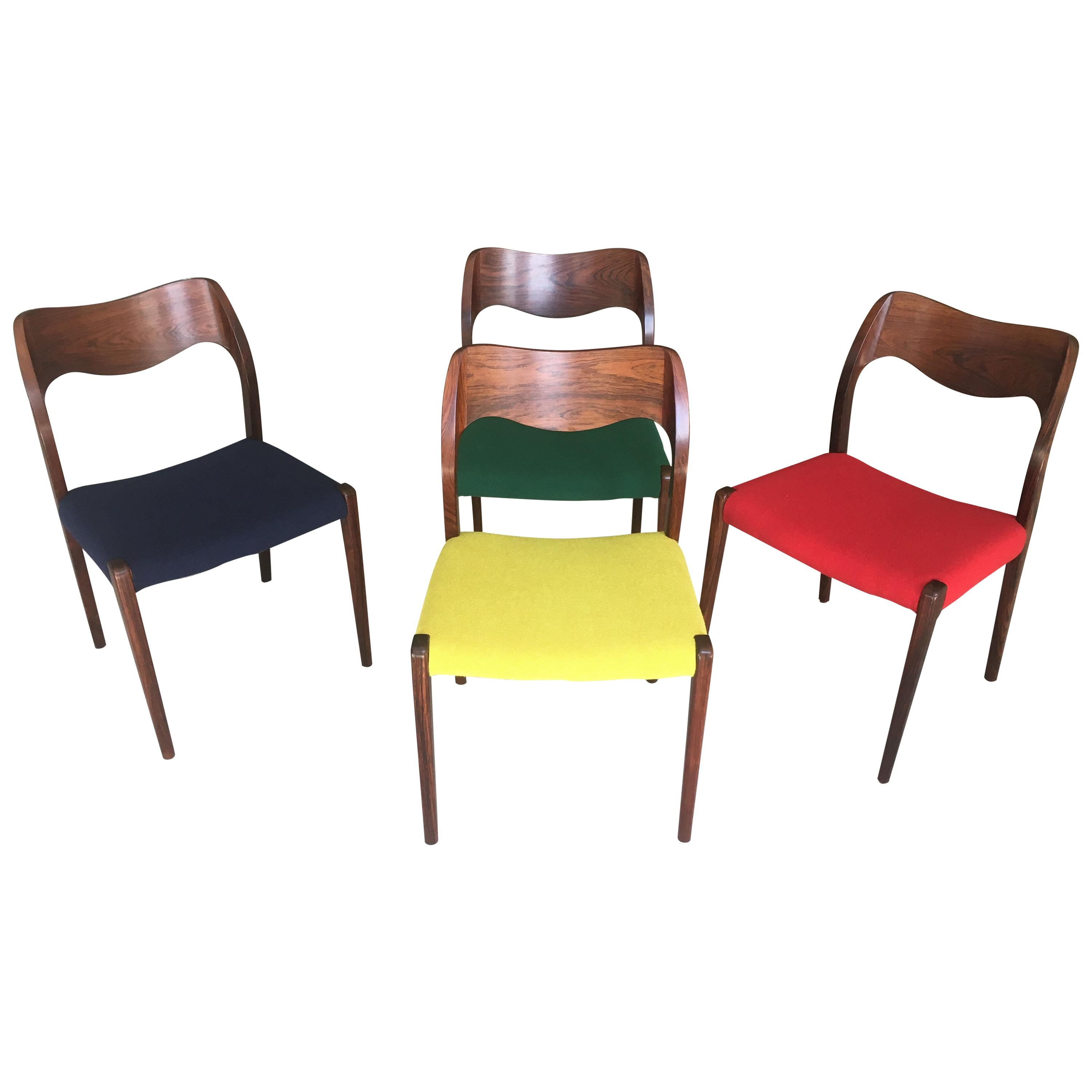 Niels Otto Møller Four Fully Restored Rosewood Dining Chairs, Inc. Reupholstery