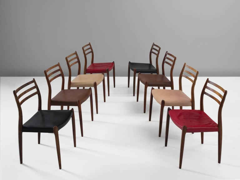 Mid-Century Modern Niels Otto Møller Large Set of Dining Room Chairs in Rosewood For Sale
