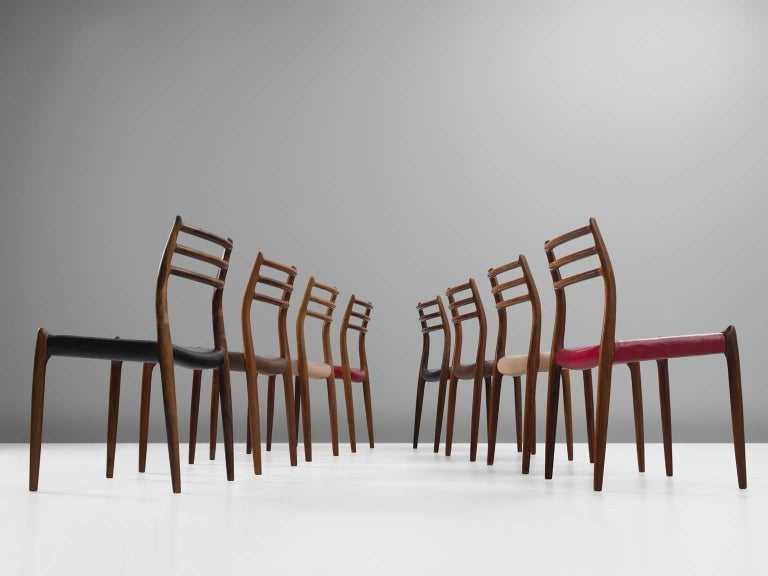 Danish Niels Otto Møller Large Set of Dining Room Chairs in Rosewood For Sale