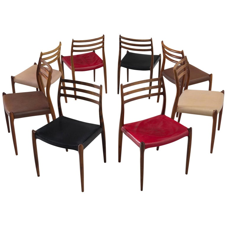 Niels Otto Møller Large Set of Dining Room Chairs in Rosewood For Sale