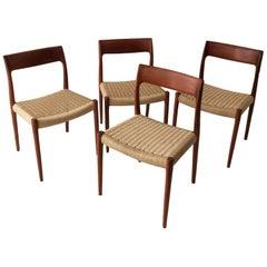 Niels Otto Møller Model 57 Set of Four Modern Danish Dining Chairs, Denmark 1958