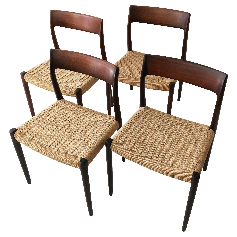 Niels Otto Møller Model 77 Set of Four Modern Danish Dining Chairs, Denmark 1958