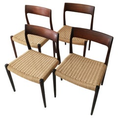Niels Otto Møller Model 77 Set of Four Modern Danish Dining Chairs, Denmark 1958