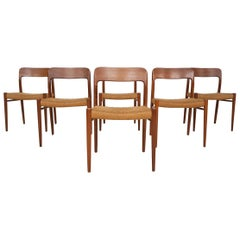 "Niels Otto Møller ""Model 75"" Teak and Paper Cord Dining Chairs, 1950s, Denmark"