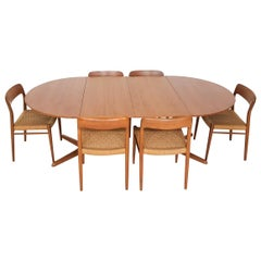 "Niels Otto Møller ""Model 75"" Teak and Paper Cord Dining Chairs and Table, 1950s"