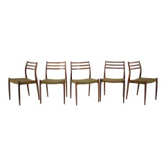Niels Otto Møller Model JL78 Rosewood Dining Chairs for J.L. Møllers, 1970s, Set
