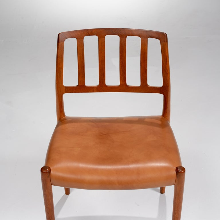 Niels Otto Møller Rosewood and Leather Dining Chairs, Model 83, Set of Six For Sale 3