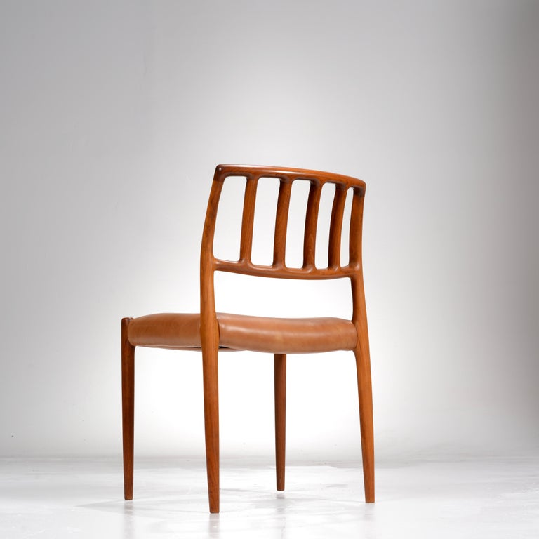 Niels Otto Møller Rosewood and Leather Dining Chairs, Model 83, Set of Six For Sale 4