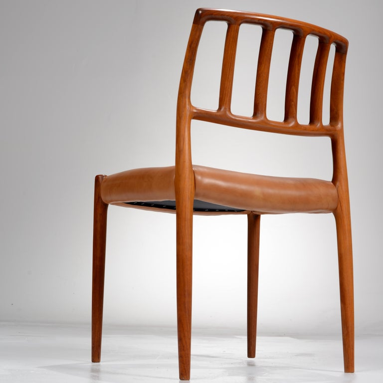 Niels Otto Møller Rosewood and Leather Dining Chairs, Model 83, Set of Six For Sale 5